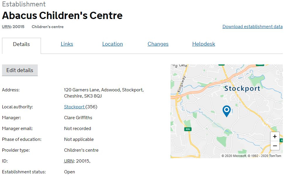 view of the details page for a children's centre