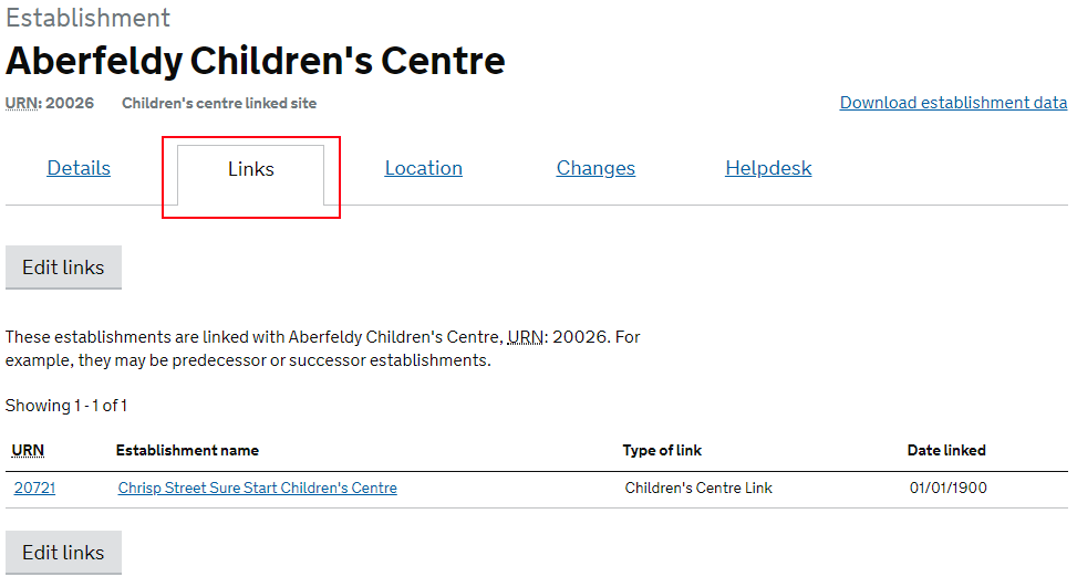 view of the links page for a children's centre