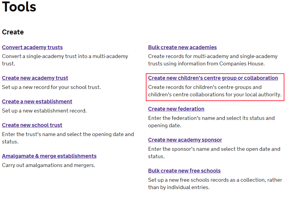 view of the tools page for a logged in user with Create a new children's centre group or collaboration highlighted